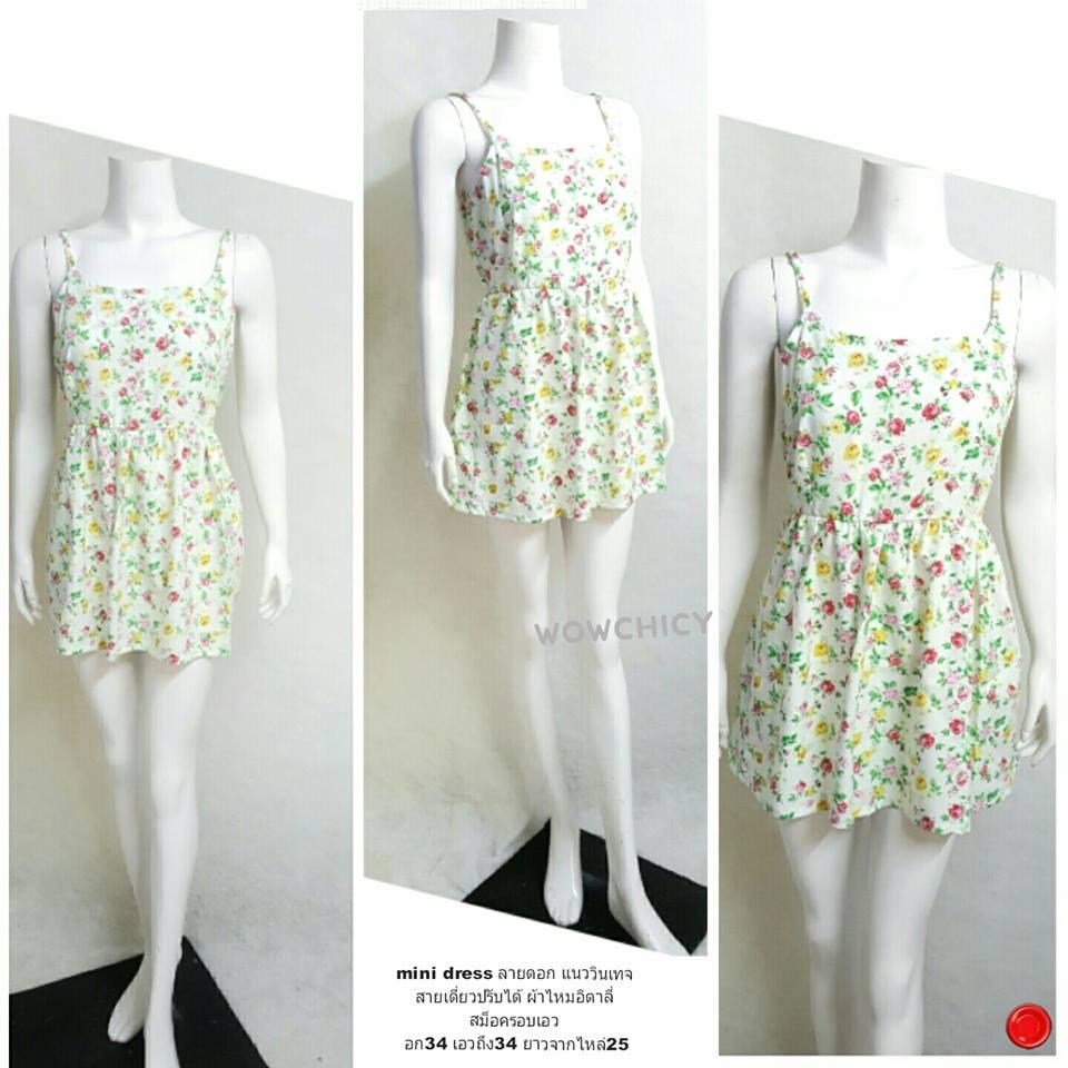 mini dress ลายดอก แนววินเทจ สายเดี่ยวปรับได้ ผ้าไหมอิตาลี่ สม็อครอบเอว อก34 เอวถึง34 ยาวจากไหล่25
