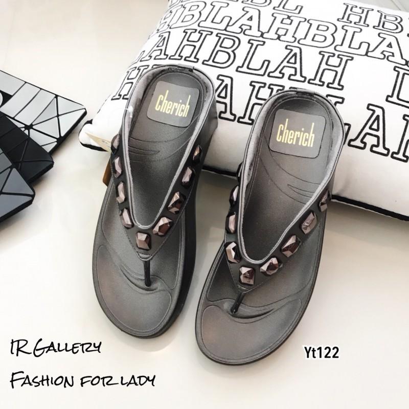 รองเท้าแตะเพื่อสุขภาพสีเทา คีบ YT122-เทา