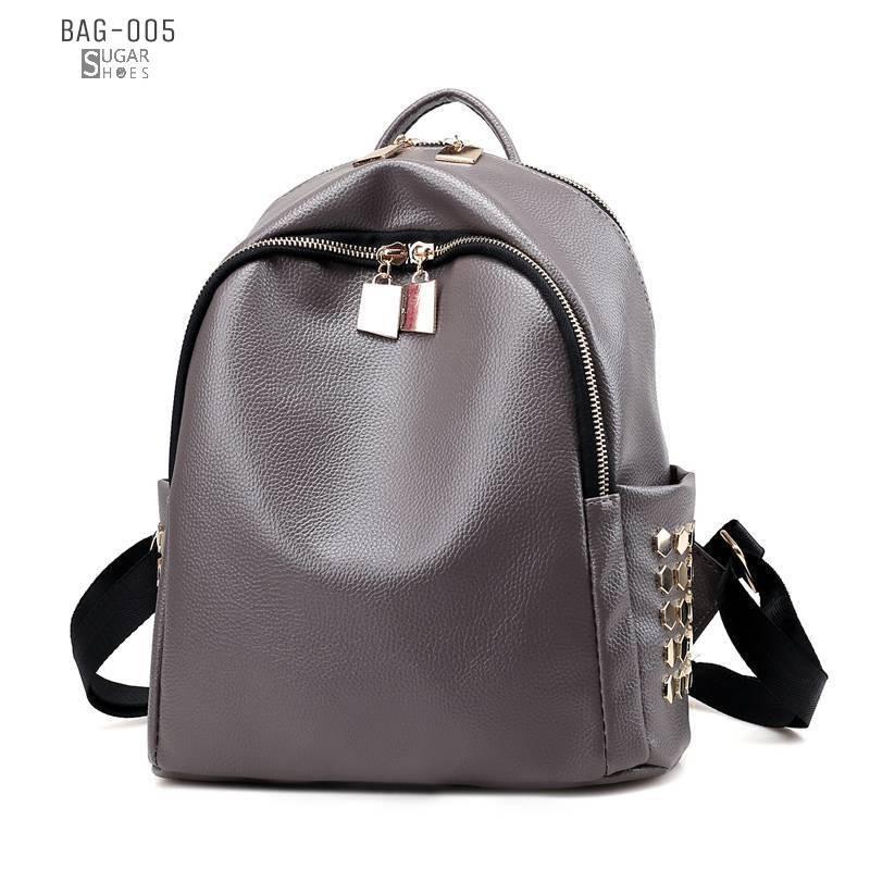 พร้อมส่ง กระเป๋าเป้หนัง pu นิ่มตกแต่งหมุด-BAG-005 [สีเทา]