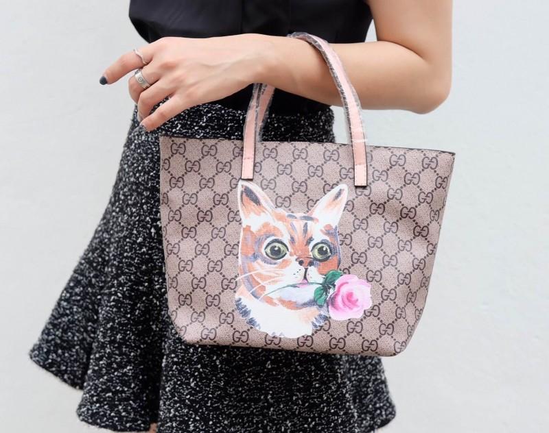 กระเป๋าสะพายแฟชั่น กระเป๋าสะพายข้างผู้หญิง กุชชี่ TOTE [สีชมพู]