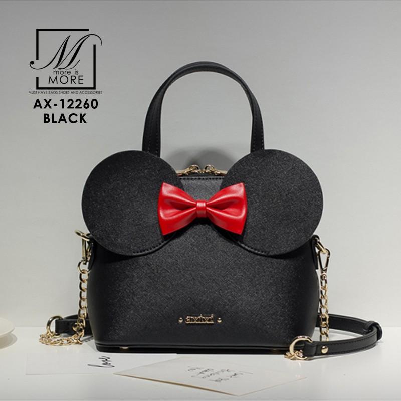 กระเป๋าสะพายกระเป๋าถือ แฟชั่นนำดีไซน์สุดน่ารัก แบรนด์ axixi แท้ AX-12260-BLK (สีดำ)