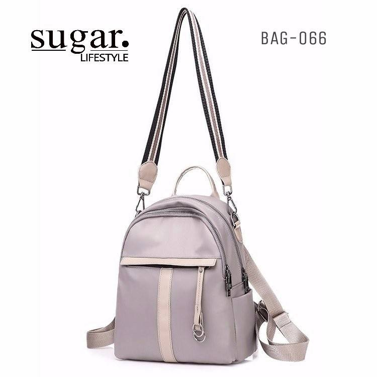 แบบมาใหม่ ทรงสุดฮิต กระเป๋าเป้ผู้หญิงผ้าไนล่อนอย่างดี BAG-066-เทา (สีเทา)