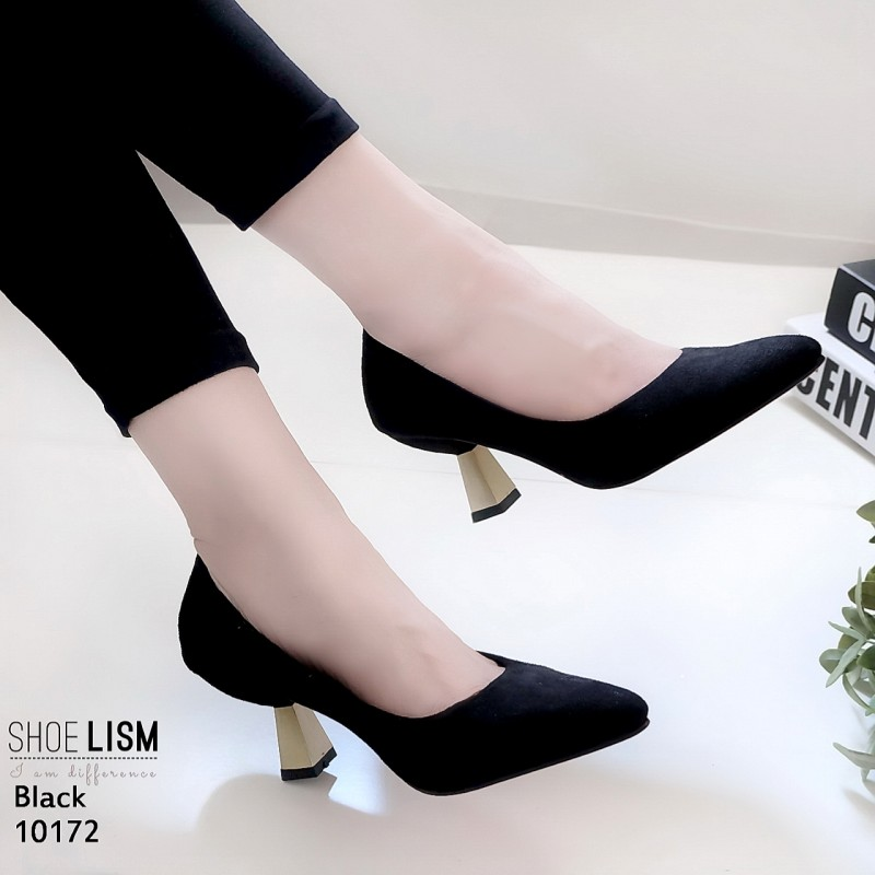 รองเท้าส้นสูงปราด้าสีดำ LB-10172-ดำ
