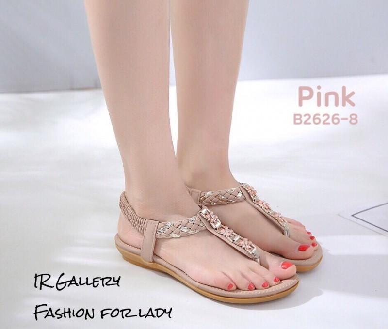 รองเท้าแตะรัดส้นสีชมพู พื้นนิ่ม B2626-8-ชมพู