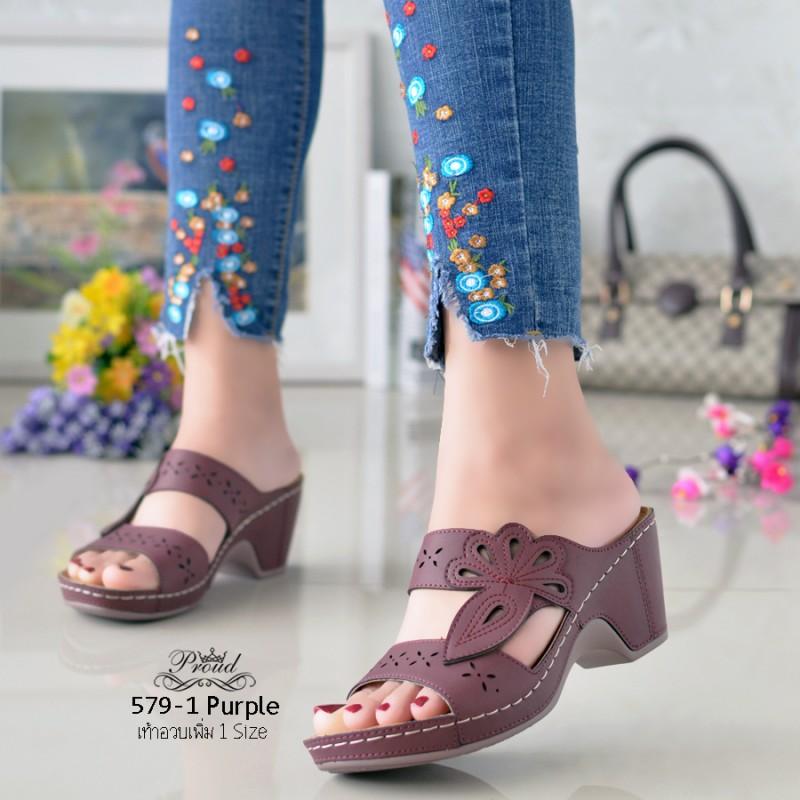 รองเท้าลำลองเพื่อสุขภาพสีม่วง 579-1-ม่วง