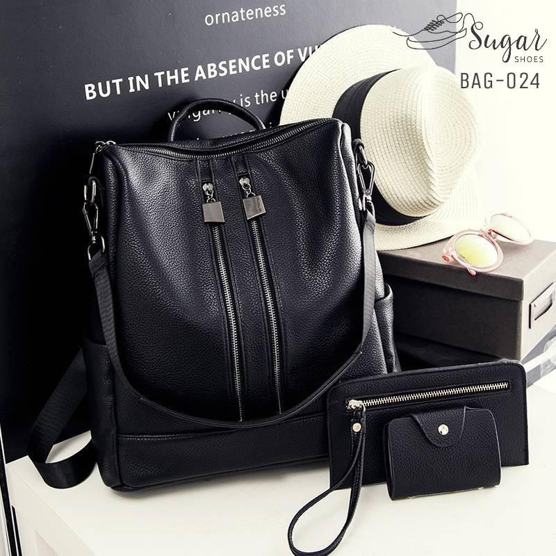 พร้อมส่ง กระเป๋าเป้ผู้หญิงหนัง pu -BAG-024 [สีดำ]