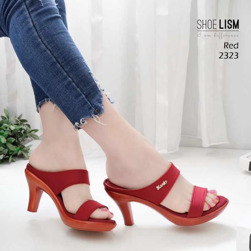 รองเท้าหัวแหลมสีแดง ส้นทอง สไตล์ซาร่าห์ LB-2323-แดง