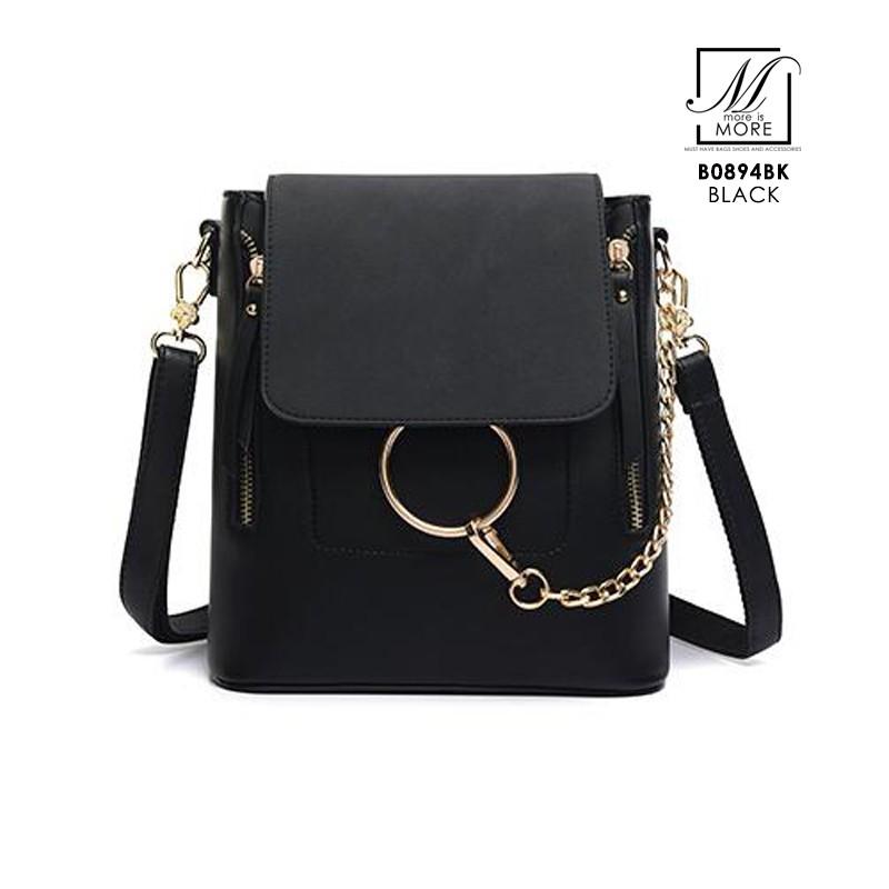 กระเป๋าสะพายเป้กระเป๋าถือ แฟชั่นนำเข้า B0894-BLK (สีดำ)