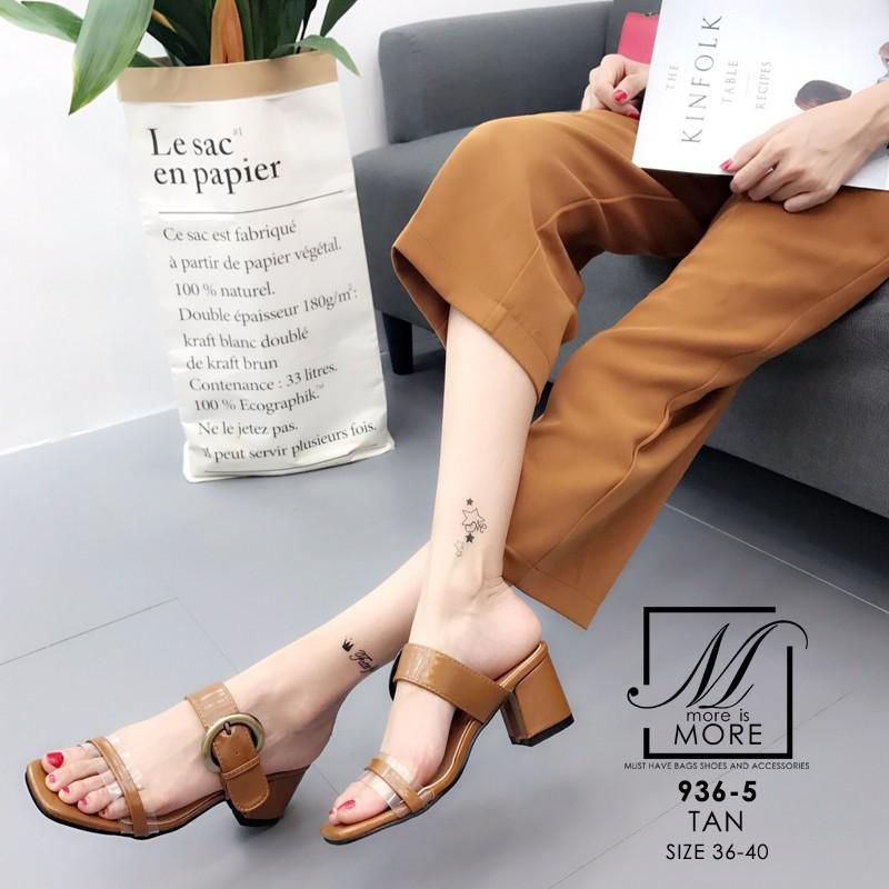 พร้อมส่ง รองเท้าส้นตันเปิดส้นสีน้ำตาล สายคาด2ระดับ แต่งเข็มขัดโลหะ แฟชั่นเกาหลี [สีน้ำตาล ]