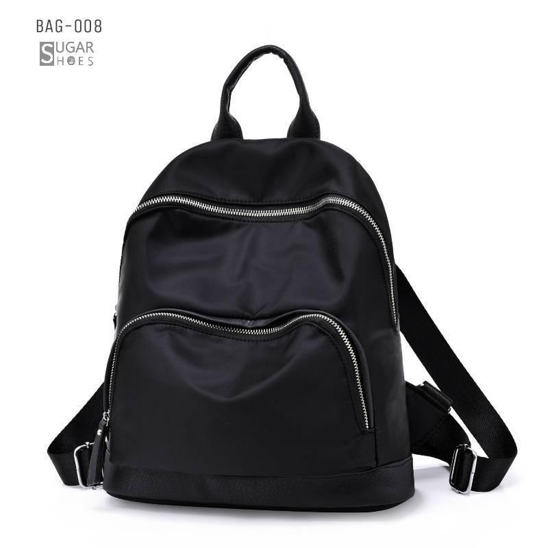 พร้อมส่ง กระเป๋าเป้ผ้าไนล่อนผู้หญิง-BAG-008 [สีดำ]