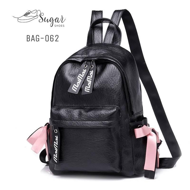 แบบมาใหม่ ทรงสุดฮิต กระเป๋าเป้ผู้หญิงหนัง pu ดีไซน์สุดเก๋ BAG-062-ดำ (สีดำ)