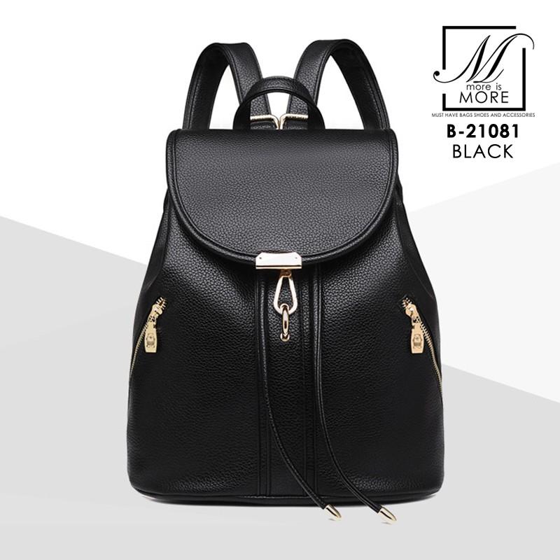 กระเป๋าสะพายเป้กระเป๋าถือ เป้แฟชั่นนำเข้าดีไซน์เรียบเก๋ส์ B-21081-BLK (สีดำ)