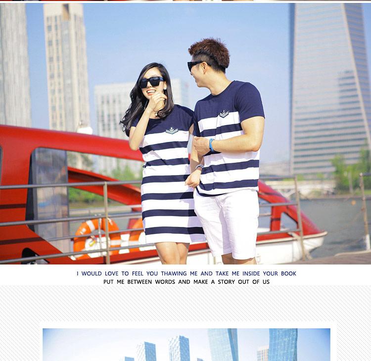 ชุดคู่รักแฟชั่นเกาหลีลาสสก็อตสีน้ำเงินขาว