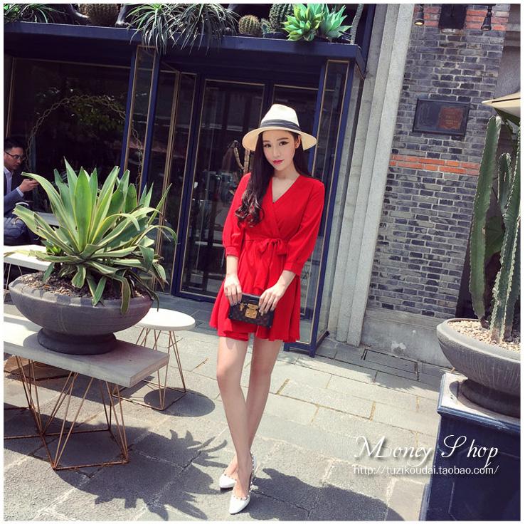 รับตัวแทนจำหน่ายชุดเดรสแฟชั่นเกาหลีสีแดงกระโปรงยาวเข้ารูป