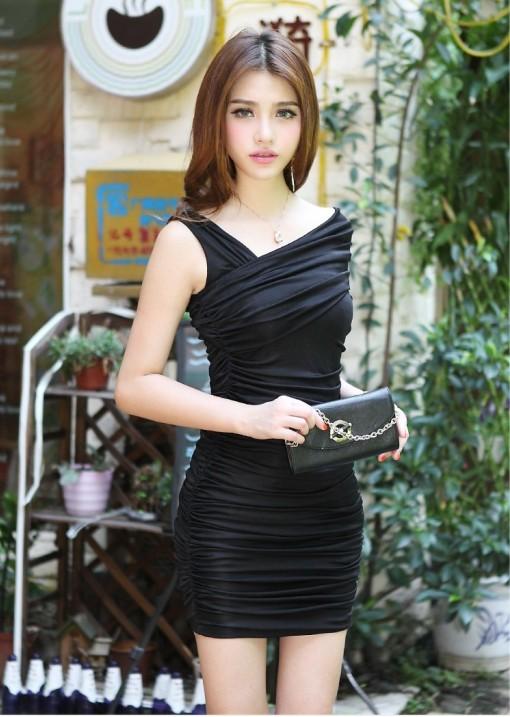 ชุดเดรสทำงานแฟชั่นเกาหลีรัดรูปสีดำเก๋ๆราคาถูก