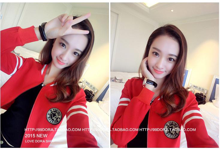 เสื้อกันหนาวแฟชั่นเกาหลีสีแดงเท่ห์ๆ