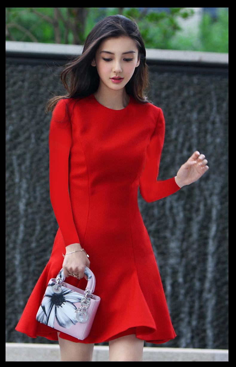 ชุดเดรสทำงานแฟชั่นเกาหลีสีแดงคอกลม