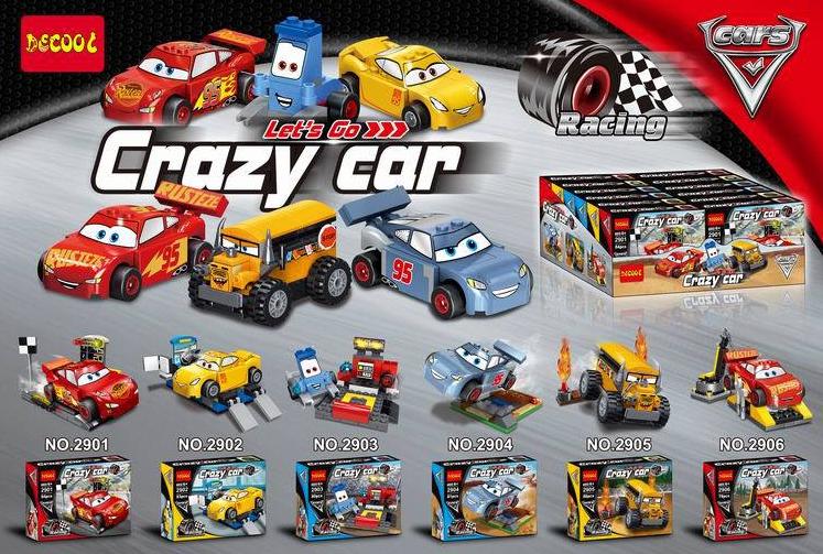 2901-2906 ของเล่นตัวต่อรถแข่ง Crazy Cars พร้อมของตกแต่ง (แยกขาย)