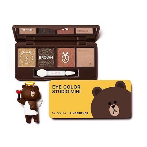 ( พร้อมส่ง ) Missha Line Friends Eye Color Studio Mini (Brown) 7.2g