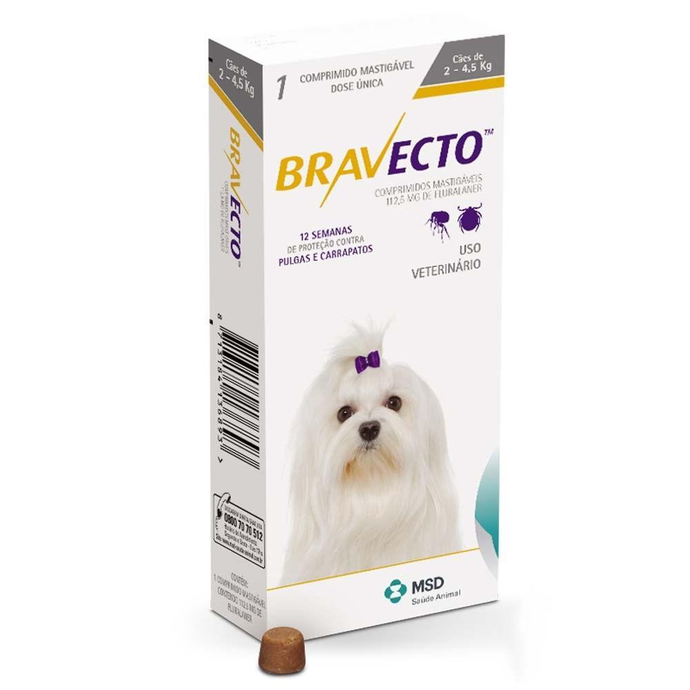 BRAVECTO ยากินกำจัดเห็บหมัด สำหรับสุนัขน้ำหนัก 2-4.5 กก.
