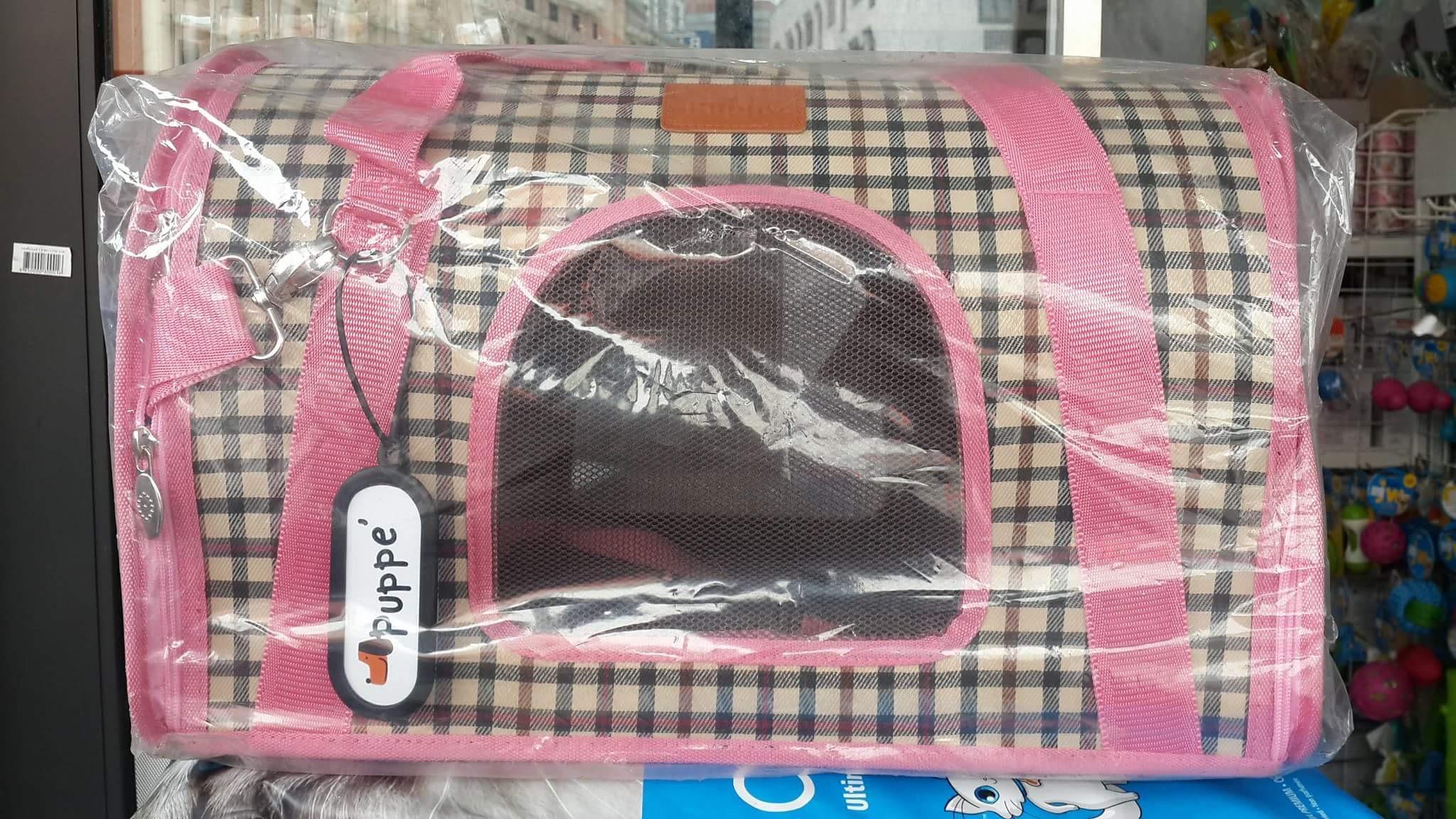 กระเป๋าใส่หมาแมวเบอร์สอง ลายสกอตสีชมพู 30 x 44 x 29 ราคา 1120รวมส่ง