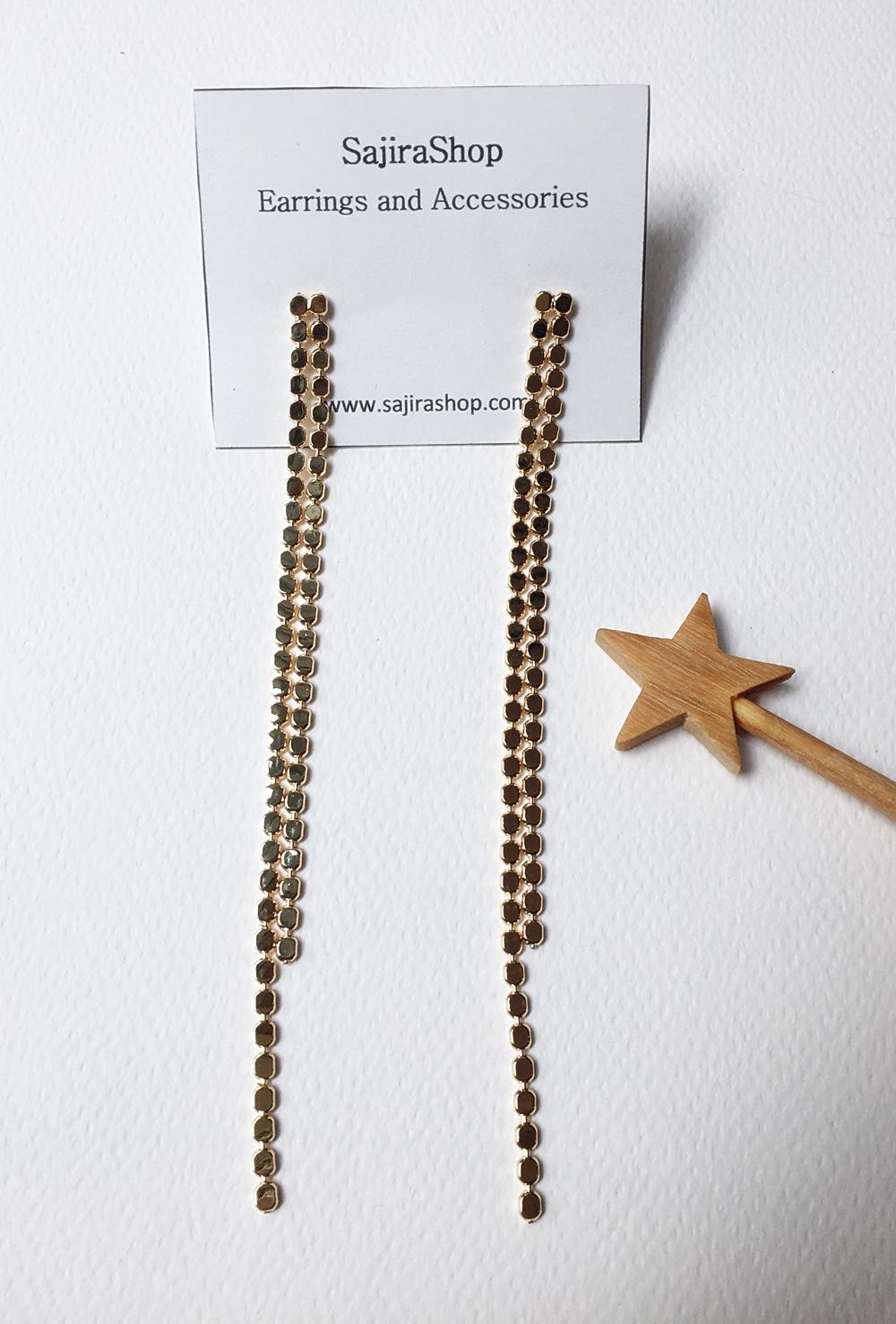 ต่างหูระย้าเส้นยาว สีทองแบบสองเส้น ตุ้มหูงานสวยมากแบบเก๋ ยาว 14 cm.