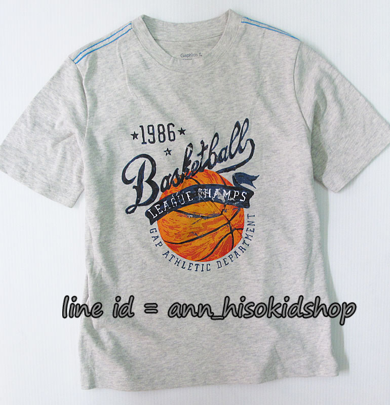 2002 GAP KIDS BASKETBALL T-Shirt - Grey ขนาด 8 ปี