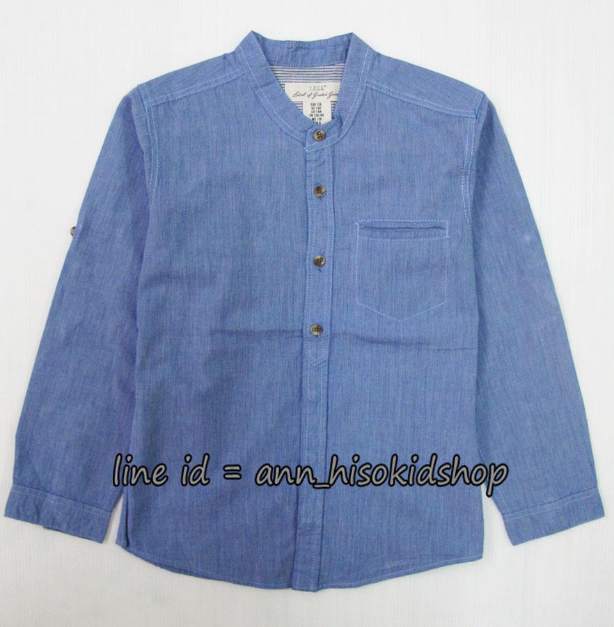 1726 H&M Cotton Shirt - Jean เสื้อเชิ้ตคอจีนสียีนส์ ขนาด 7-8,9-10,11-12 ปี