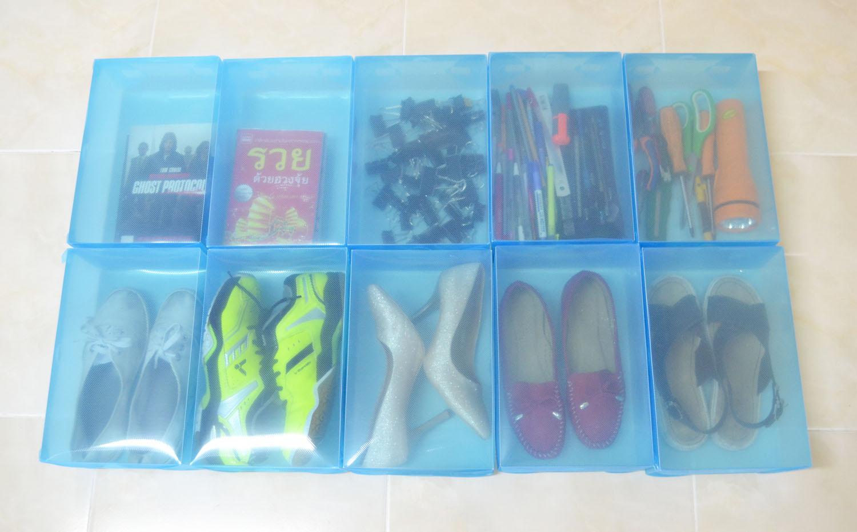 """กล่องอเนกประสงค์แบบเปิดฝาบน ใส่ได้สูงสุดไซส์ 40 สีน้ำเงิน """"Small Size"""" (10 กล่อง)"""