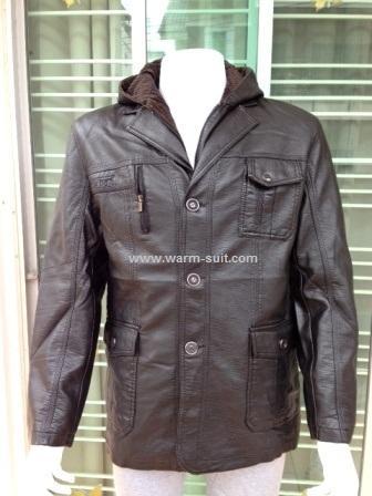 เสื้อโค้ทผ้ากึ่งหนังสีดำด้าน มีฮูด 2 งานเกรดพรีเมี่ยม