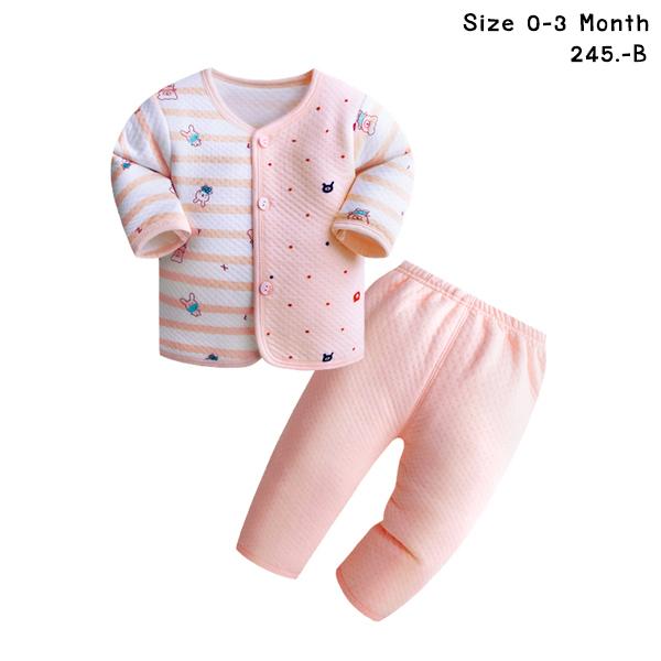 ชุดนอนเด็กอ่อน สีชมพู เสื้อลายทาง