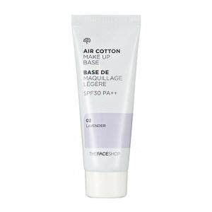 {พร้อมส่ง} The Face Shop 2015 New Air Cotton Make Up Base (SPF30/PA++) 40ml #2 Lavender เบสสีม่วง ช่วยปรับผิวให้ดูสว่าง สำหรับผิวสองสีจะช่วยแก้ไขผิวที่ดูหมองคล้ำให้สดใสขึ้น แก้ไขสีผิวที่ไม่สม่ำเสมอ