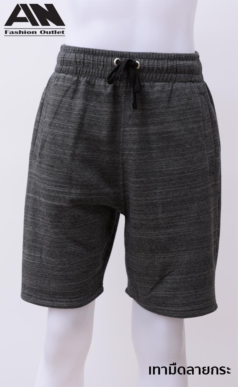 กางเกงกีฬาขาสั้นเอวยืด สีเทามืดลายกระ