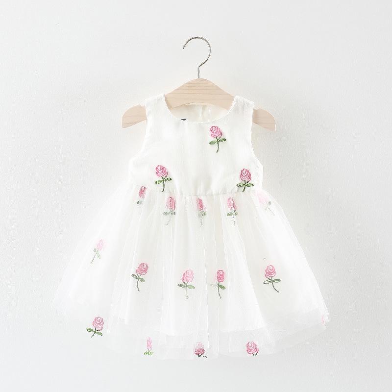 ชุดเดรสสีขาวปักดอกกุหลาบสีชมพู แพ็ค 2 ชุด [size 6m-1y]
