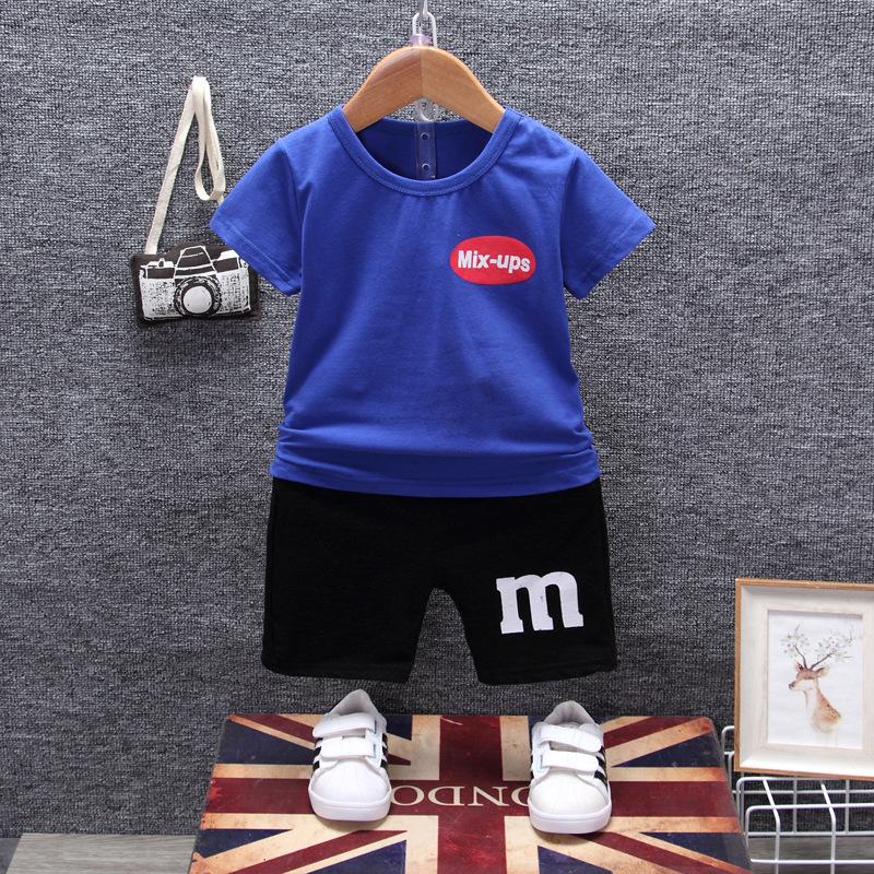 ชุดเซตเสื้อสีน้ำเงินสกรีน mix-ups + กางเกงสีดำ แพ็ค 4 ชุด [size 6m-1y-2y-3y]