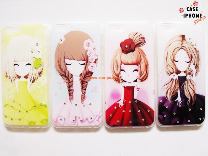 เคสยางลายการ์ตูนสาวเกาหลีแต่งคริสตัล ไอโฟน 6 plus 5.5 นิ้ว