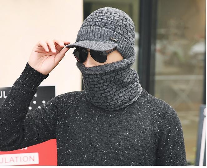 [พร้อมส่ง] H8157 หมวกไหมพรมกันหนาว สำหรับผู้ชาย (เฉพาะหมวก ไม่รวมผ้าพันคอ)