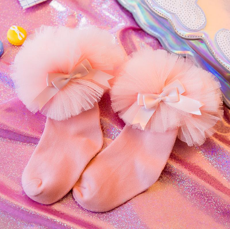ถุงเท้าสั่ง สีชมพู แพ็ค 6 คู่ ไซส์ M (ประมาณ 3-5 ปี)