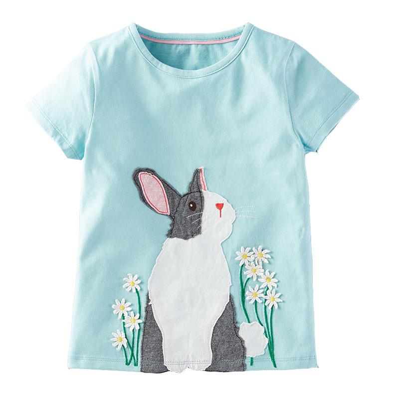เสื้อแขนสั้นลายกระต่ายสีฟ้า [size 2y-4y-5y-7y]
