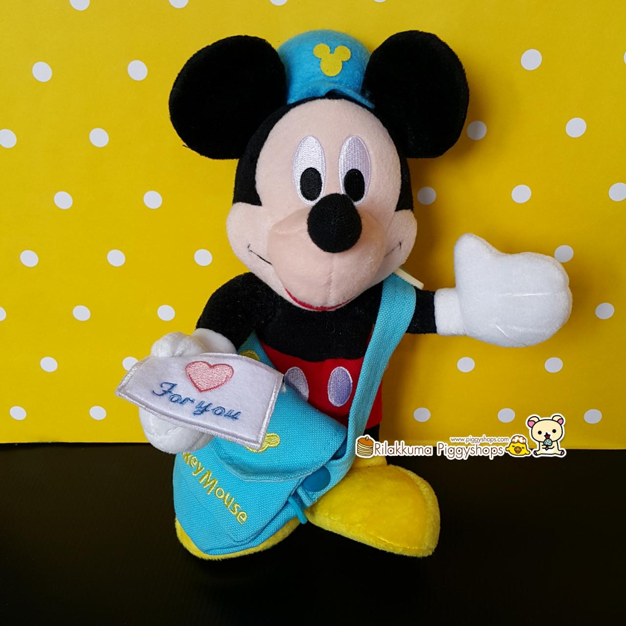 Disney Mickey Mouse postman plush doll ตุ๊กตามิกกี้เม้าส์สะพายกระเป๋าส่งจดหมายปักรูปหัวใจน่ารัก