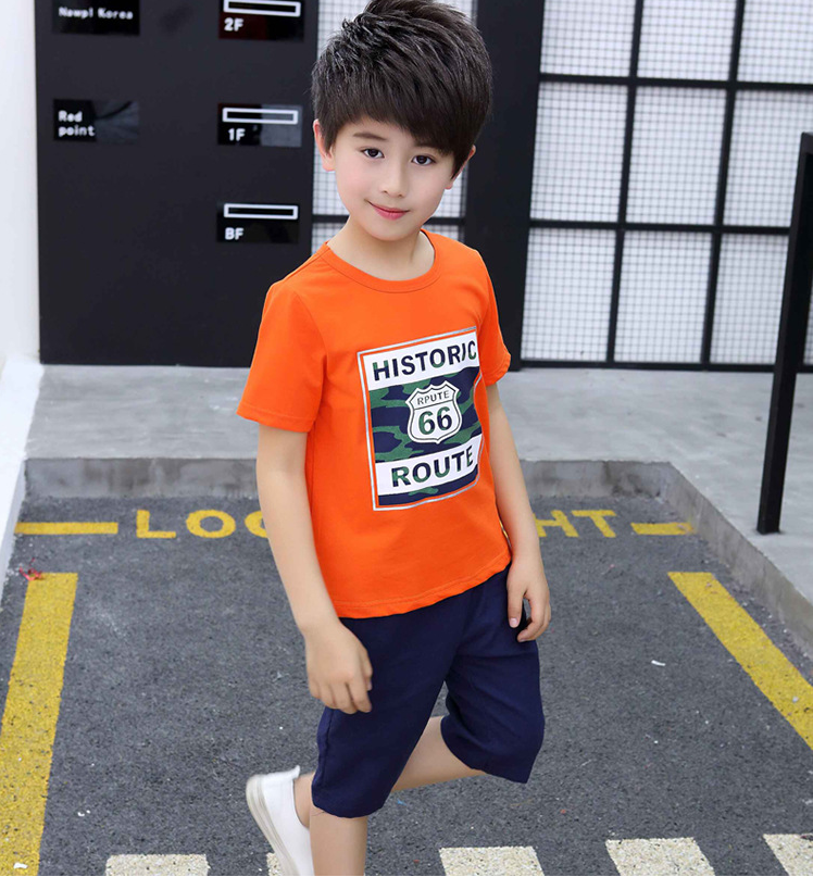 เสื้อ สีส้ม แพ็ค 5 ชุด ไซส์ 120-130-140-150-160 (เลือกไซส์ได้)
