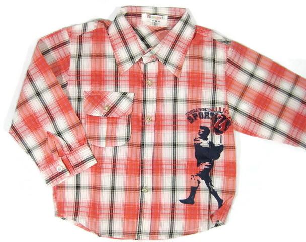 SH002 เสื้อเชิ้ตเด็กแขนยาว ผ้าคอตตอน ลายตารางสีแดง กระเป๋าตรงอก สกรีน International Sport Winner Cup Size 6/8/10/12