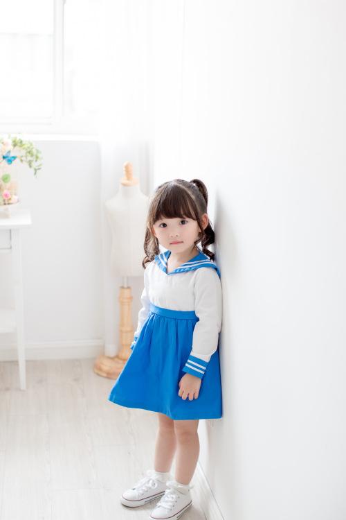 ชุดเดรสแขนยาวปกกะลาสีสีฟ้า [size 2y-3y-4y-5y-6y]