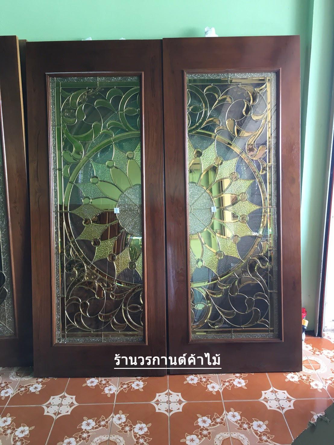 ประตูไม้สักกระจกนิรภัย เต็มบาน เกรดA รหัส A76