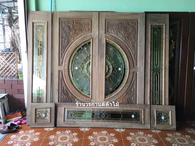 ประตูไม้สักกระจกนิรภัย แกะมังกรหงส์ ชุด7ชิ้น เกรดA รหัส NOT16
