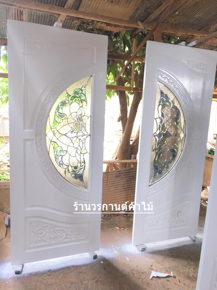 ประตูไม้สักกระจกนิรภัย สีขาว เกรดA รหัส A145