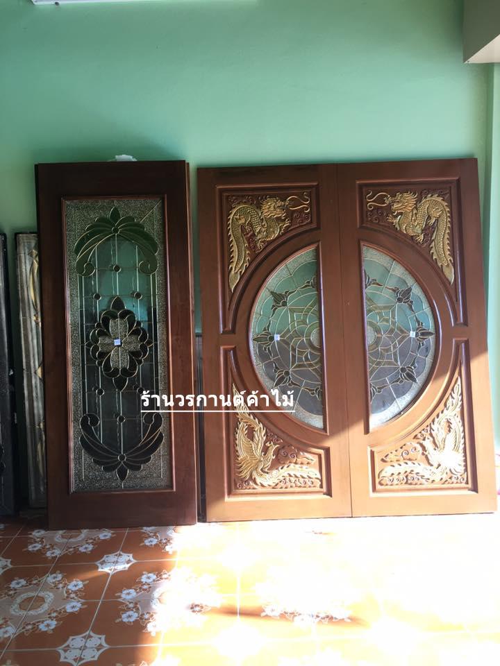 ประตูไม้สักกระจกนิรภัย แกะมังกร,หงส์ เกรดA, B+ รหัส A124