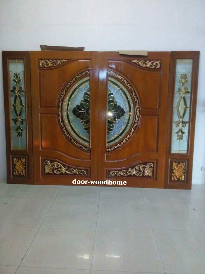ประตูไม้สักกระจกนิรภัย ชุด4ชิ้น เกรดA รหัส NNA201