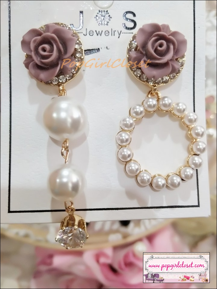 ต่างหูแฟชั่นสไตล์เกาหลี Korean Flower Rhinestone Pearl Charm Fashion Jewelry