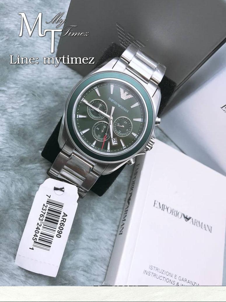 Emporio Armani Classic Sigma Dark Green Dial Men's Chronograph Watch - AR6090